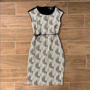 Black and white herringbone pattern dress-small